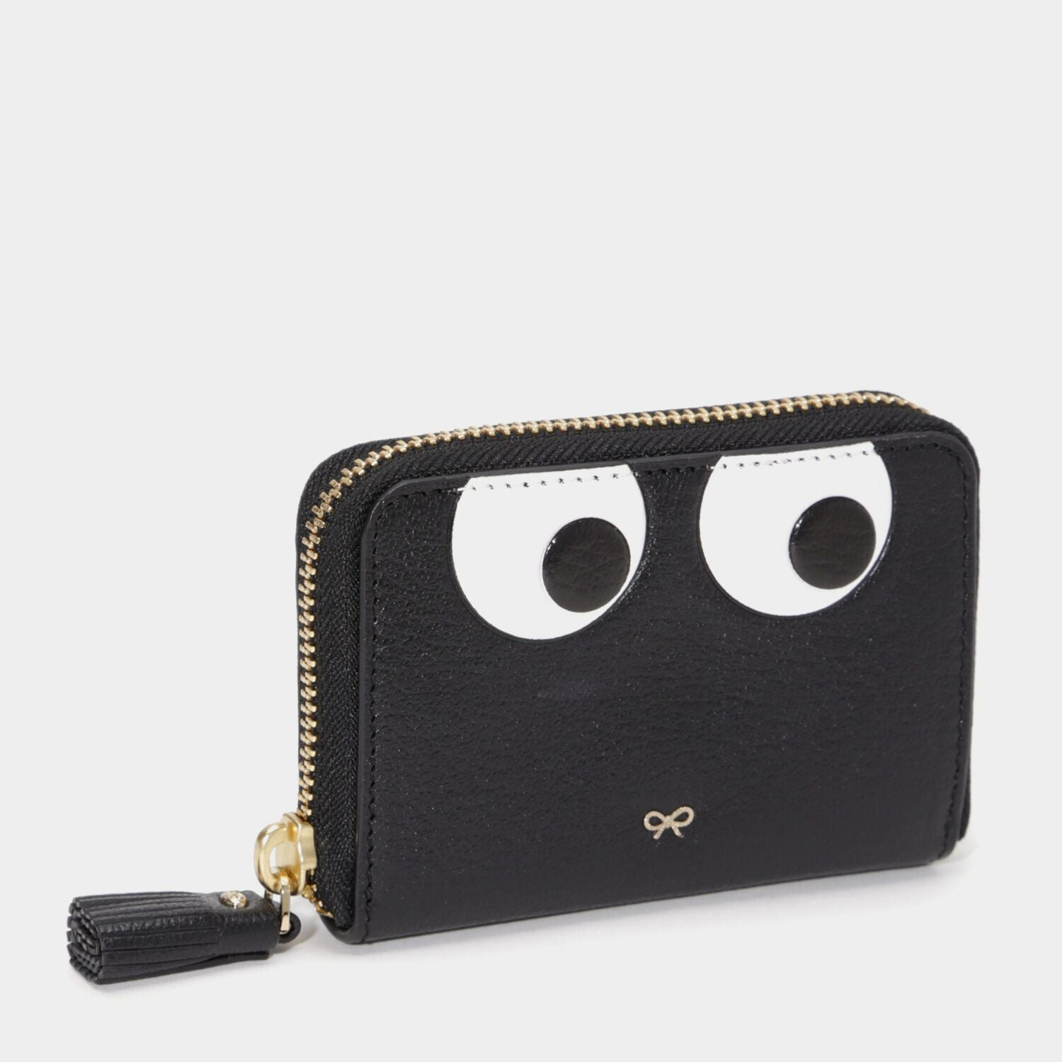 Small Zip Round Wallet Eyes in Black Capra