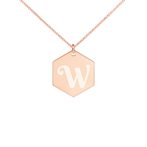 Waking Up Eighty Engraved Silver Hexagon Necklace