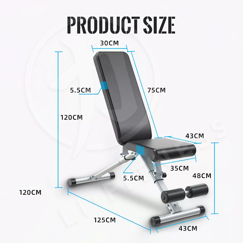 【300kg】Foldable Adjustable Dumbbell Weight Bench Press Sit-up Flat Gym Exercise