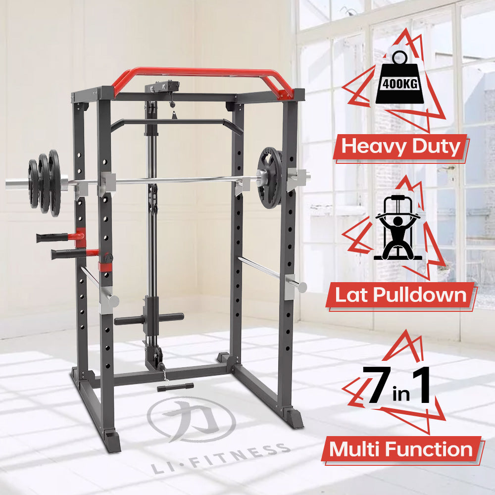 Power Rack Cage w/ Lat Pull Down Dip Bar Bench Press Squats Home Gym