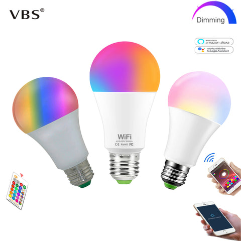 Dimmable E27 LED RGB Lampa 15W WIFI
