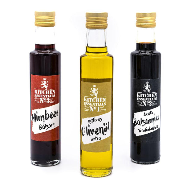 No1, No2 & No3 KITCHEN ESSENTIALS - Natives Olivenöl, Aceto Balsamico & Himbeer Balsam