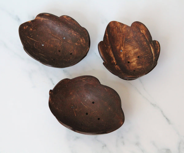 Coconut Shell Leaf Shaped Soap Caddy