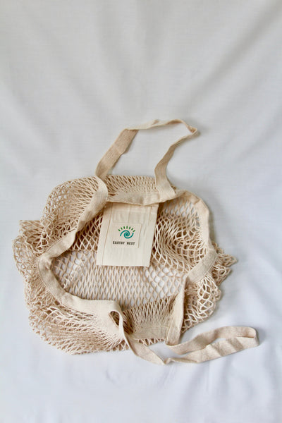 XL Cotton String Tote Bag (Large Handles and Pocket)