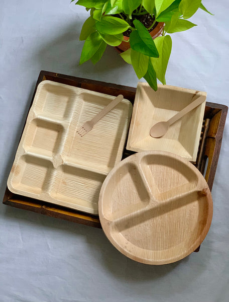 3 Compartment Areca Leaf Plate (Set of 25)