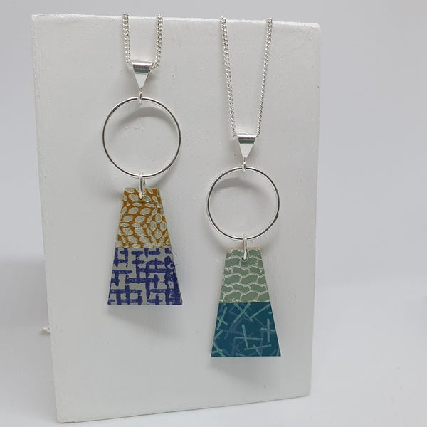 Reversible Silver necklace with hoop then a trapeze in two colourways - yellows & blues or greens