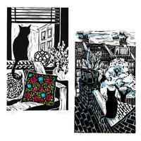 Two black and white lino cut prints featuring a cat