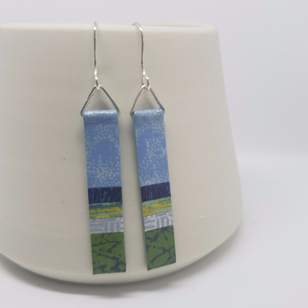 Long thin retangular drop earrings in blues, greens and yellows