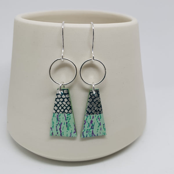 Silver drop earrings with circle and trapeze shape in greens and sliver