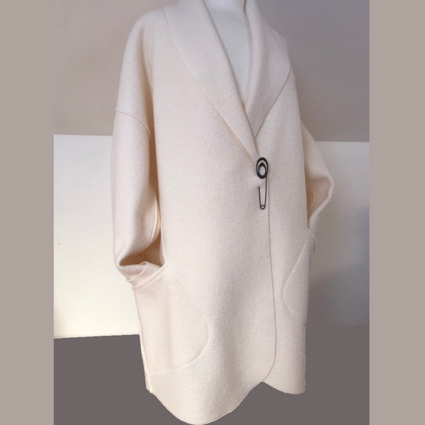 White wool long edge to edge cocoon coat with shawl collar