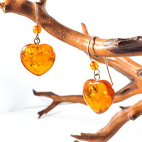 Cognac Amber Heart Drop Earrings