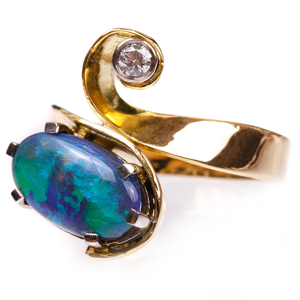 Natural Black Opal and Diamond Ring