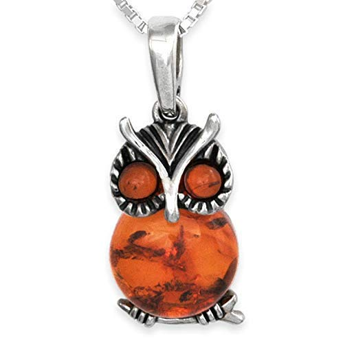 Baltic Amber & Silver Owl Pendant