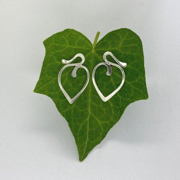 Larger Silver Heart Stud Earrings