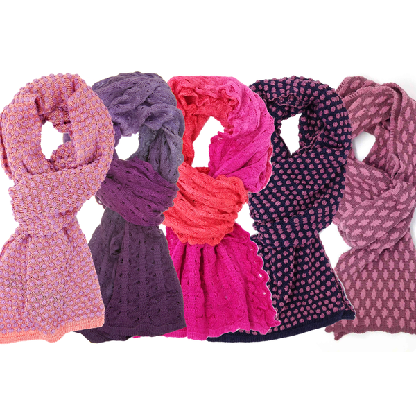 Knitted dyed scarves - reds and purples