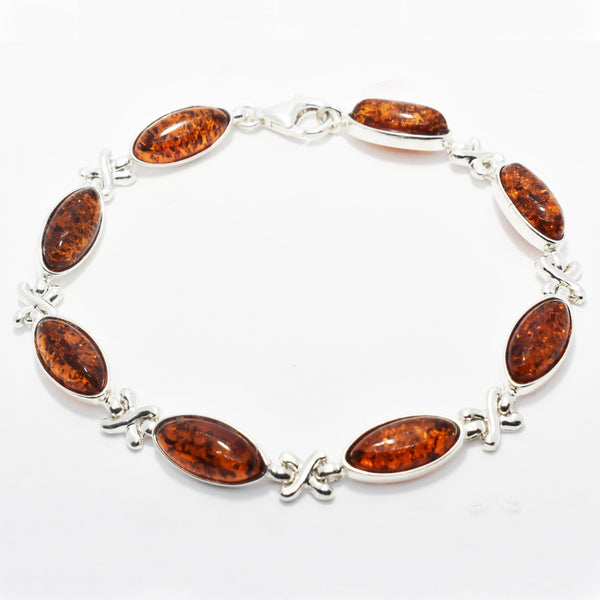 Baltic Amber and Silver Bracelet