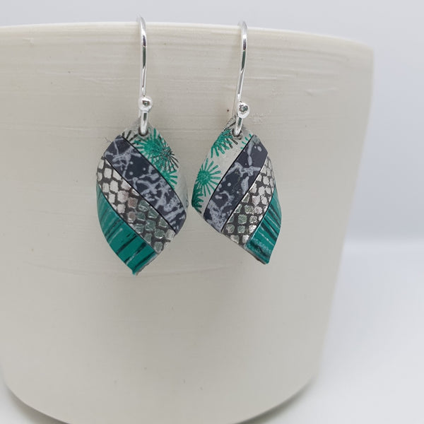 Handkerchief drop earrings in silver and greens