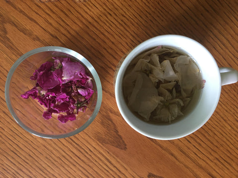 Wild rose iced tea for baby and the family in summer