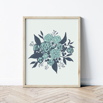 boho farmhouse bouquet art print blue | shop radiant home studio