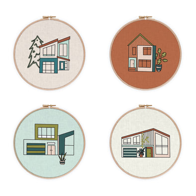 Modern House Collection Embroidery 4 Pattern Set PDF Download | Radiant Home Studio