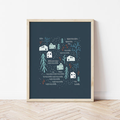 Love Your Neighbors | Blue Raised Neighborly Art Print | Radiant Home Studio