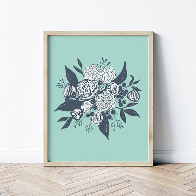 boho bouquet art print aqua  | shop radiant home studio