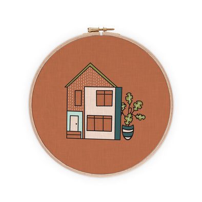 Contemporary Boho Townhouse Embroidery Pattern PDF Download | Radiant Home Studio