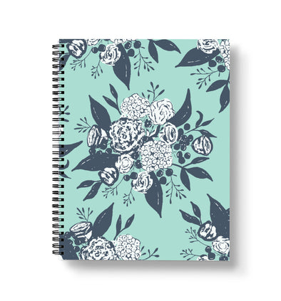 Aqua Flower Spiral Notebook | Radiant Home Studio
