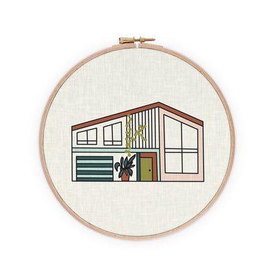 Mid-Century Modernist House Embroidery Pattern | Radiant Home Studio