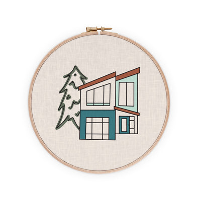 Modernist Mountain House Embroidery Pattern PDF Download Radiant Home Studio