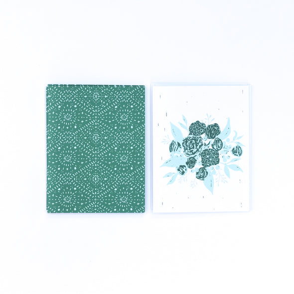 eco-friendly recycled floral note card set | emerald & aqua bouquet | shop radiant home studio