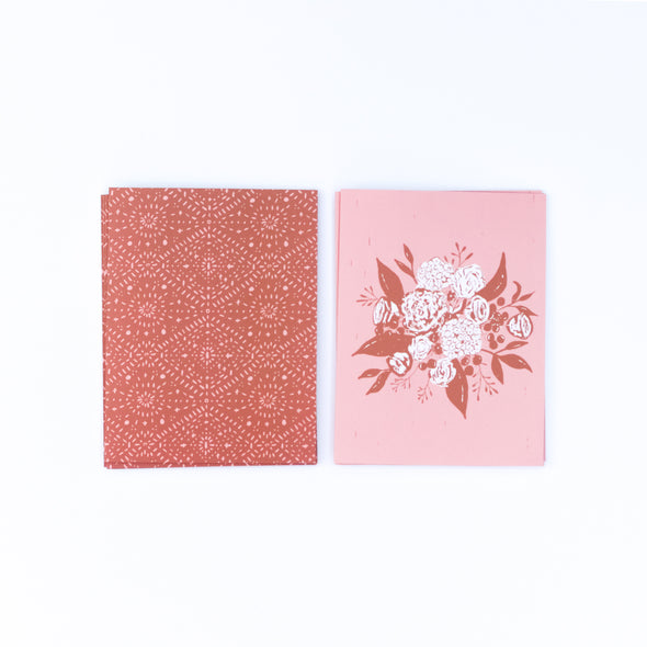 eco-friendly recycled notecards | terra cotta & peach bouquet | shop radiant home studio