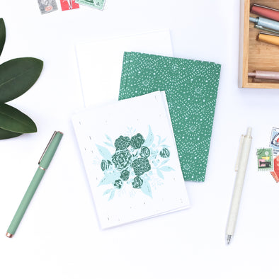 eco-friendly recycled note card set | emerald & aqua bouquet blank greeting cards | shop radiant home studio
