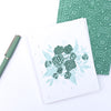 eco-friendly recycled note card set | emerald & aqua floral bouquet | shop radiant home studio