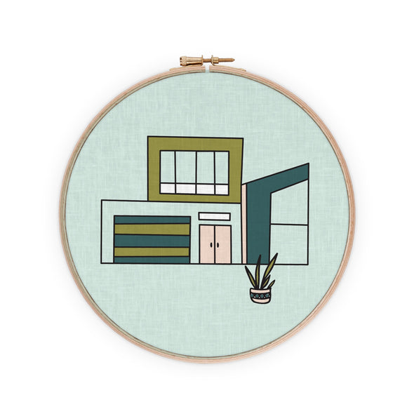 Sunny Southwest Postmodern House Embroidery Pattern PDF Download | Radiant Home Studio