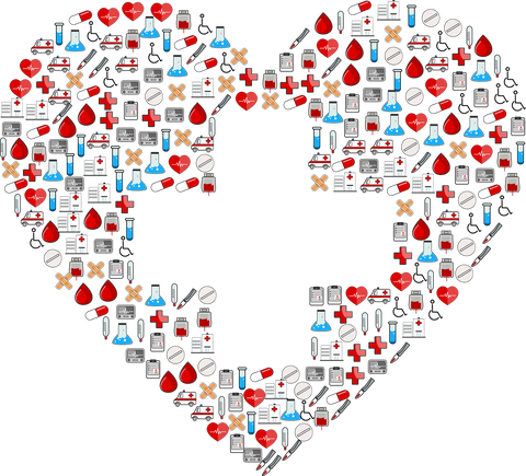 Heart made out of healthcare essentials