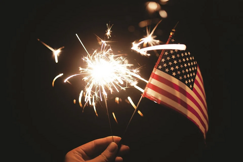 Fireworks and the US flag