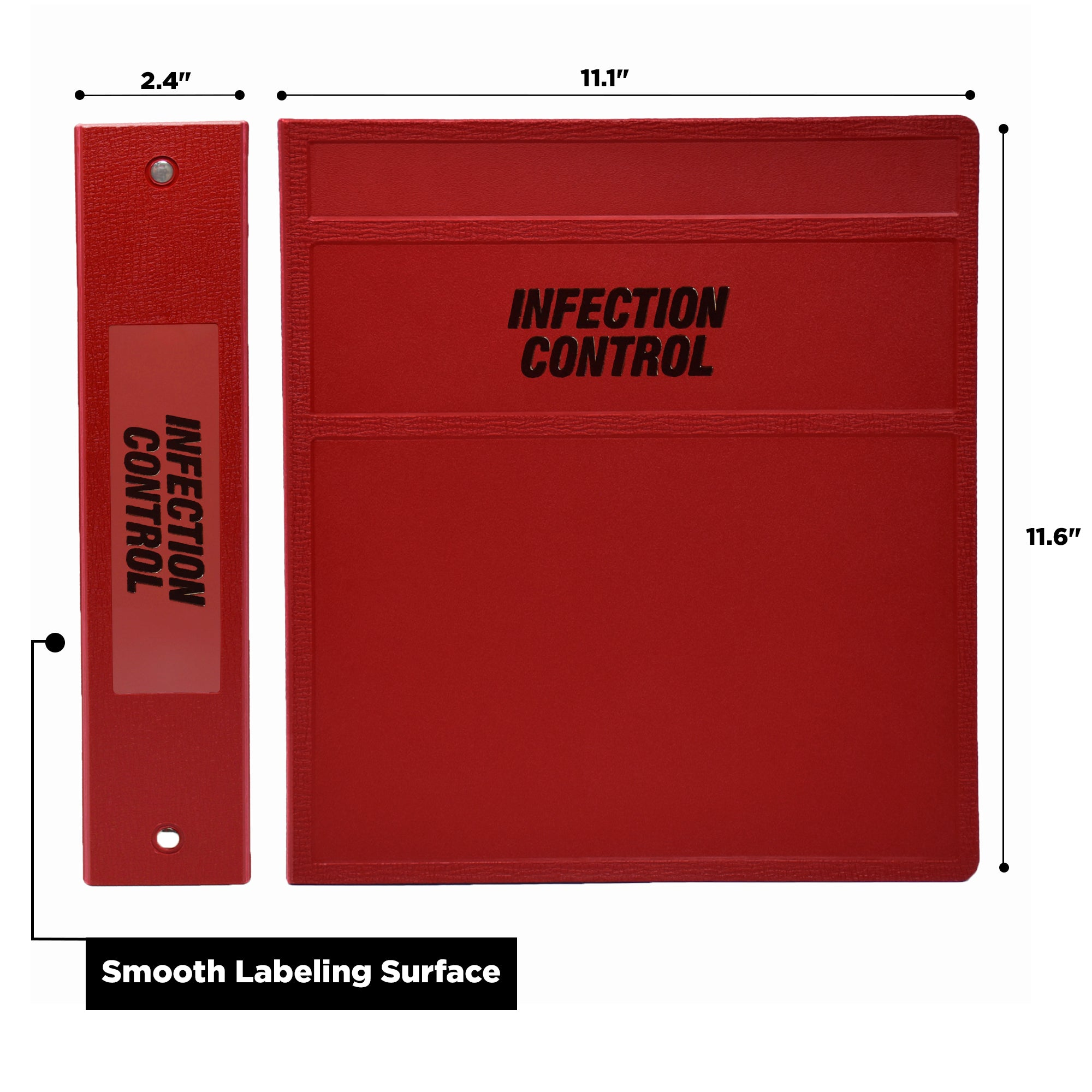 2-Inch Heavy Duty 3-Ring Binder for Infection Control Manual – Side Opening