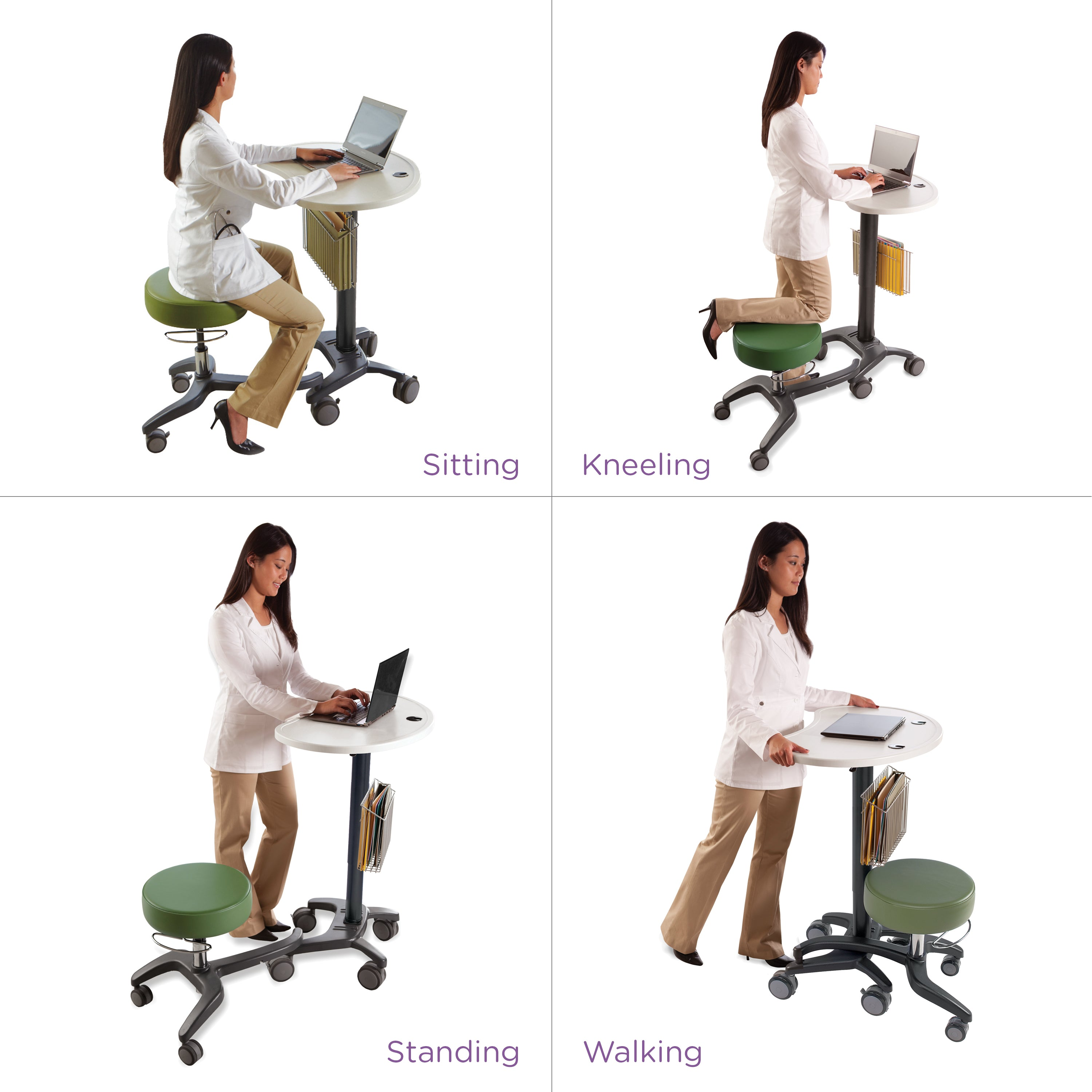 "LinkT Premium Mobile Laptop Desk and Workstation with Seat – Height Adjustable from 28.75"" to 42"""
