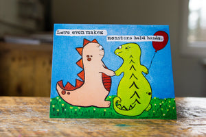 Love Makes Even Monsters Hold Hands Greeting Card