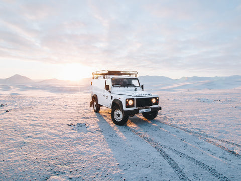 Land Rover Defender in the Snow in Scotland