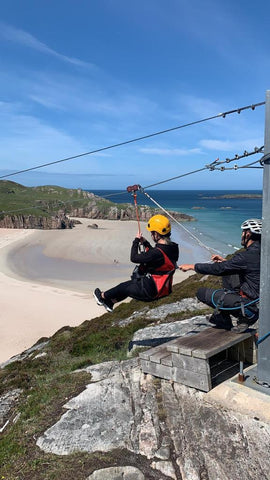 Golden Eagle Zipline with Mini Camper at Durness beach