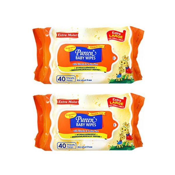 Pureen Baby Wipes Extra Large Fragrance Free 2x40's