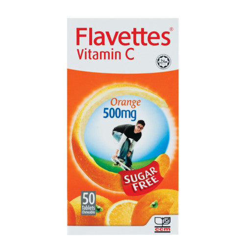 FLAVETTES VIT C ORANGE 500MG SUGAR FREE 50'S