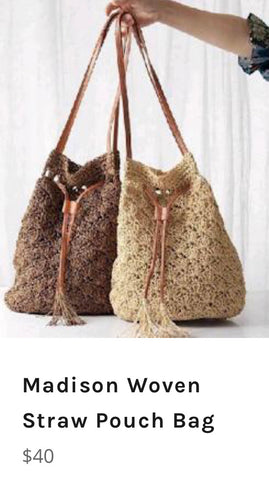 Madison Woven Straw Pouch Bag