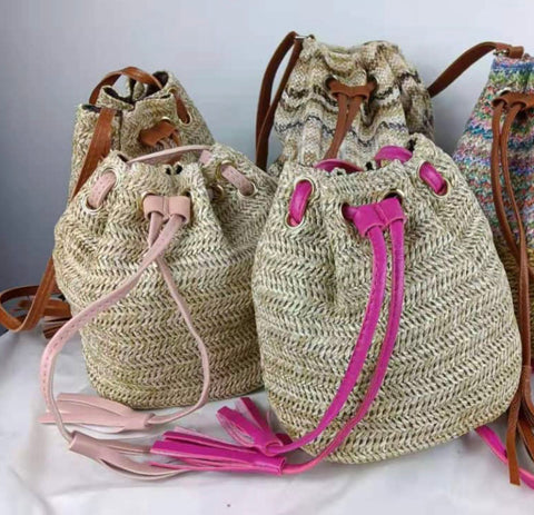 Dora Straw Weave Bag with Drawstring