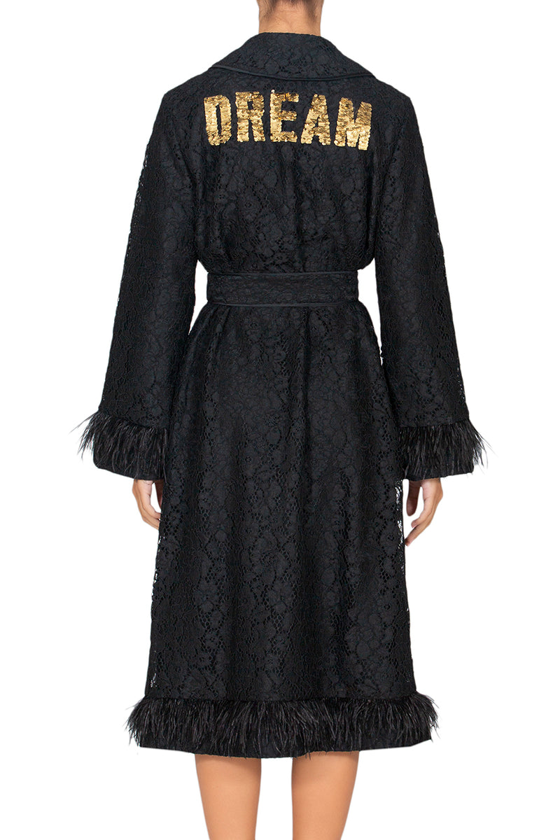 Secrets Black Lace Robe