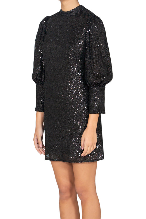 Illusion Black Sequins Dress