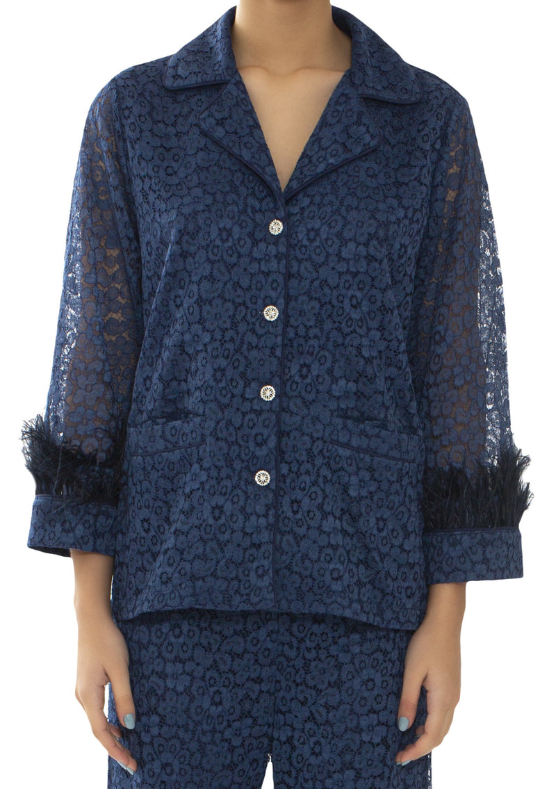 Navy Lace & Feathers Pyjama Jacket