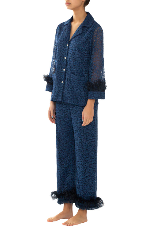 Navy Lace & Feathers Pyjama Trousers